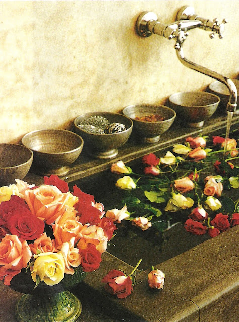 Côté Sud stone sink with roses (detail) edited by lb for linenandlavender.net, post: http://www.linenandlavender.net/2009/07/heart-of-home.html