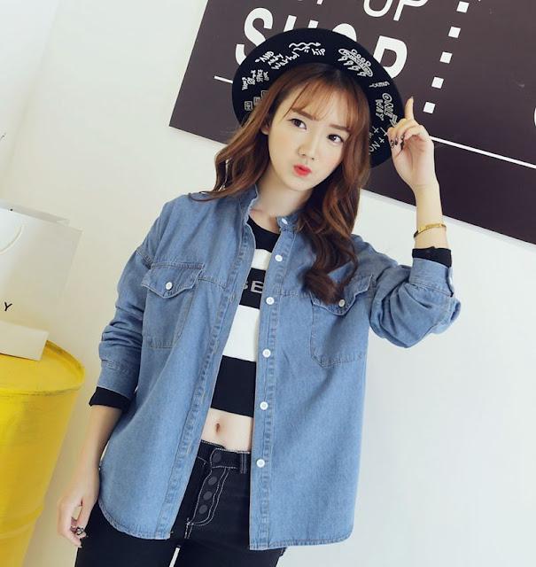 Baju Kemeja Denim Wanita Korea Cantik Terbaru 2016