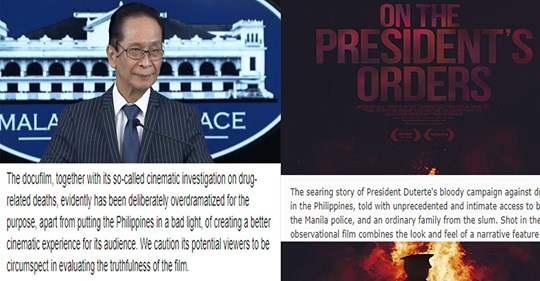 "Malacanang slams US docufilm ""On the President's Orders"", accuses filmmaker of riding Duterte's popularity & success, says it reeks with malice to put PH in a bad light 