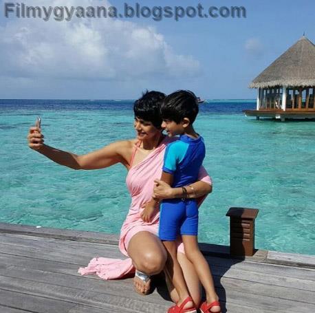 Mandira bedi clicks a selfie with son veer