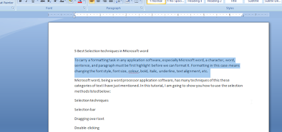 Selecting paragraph-Microsoft word.