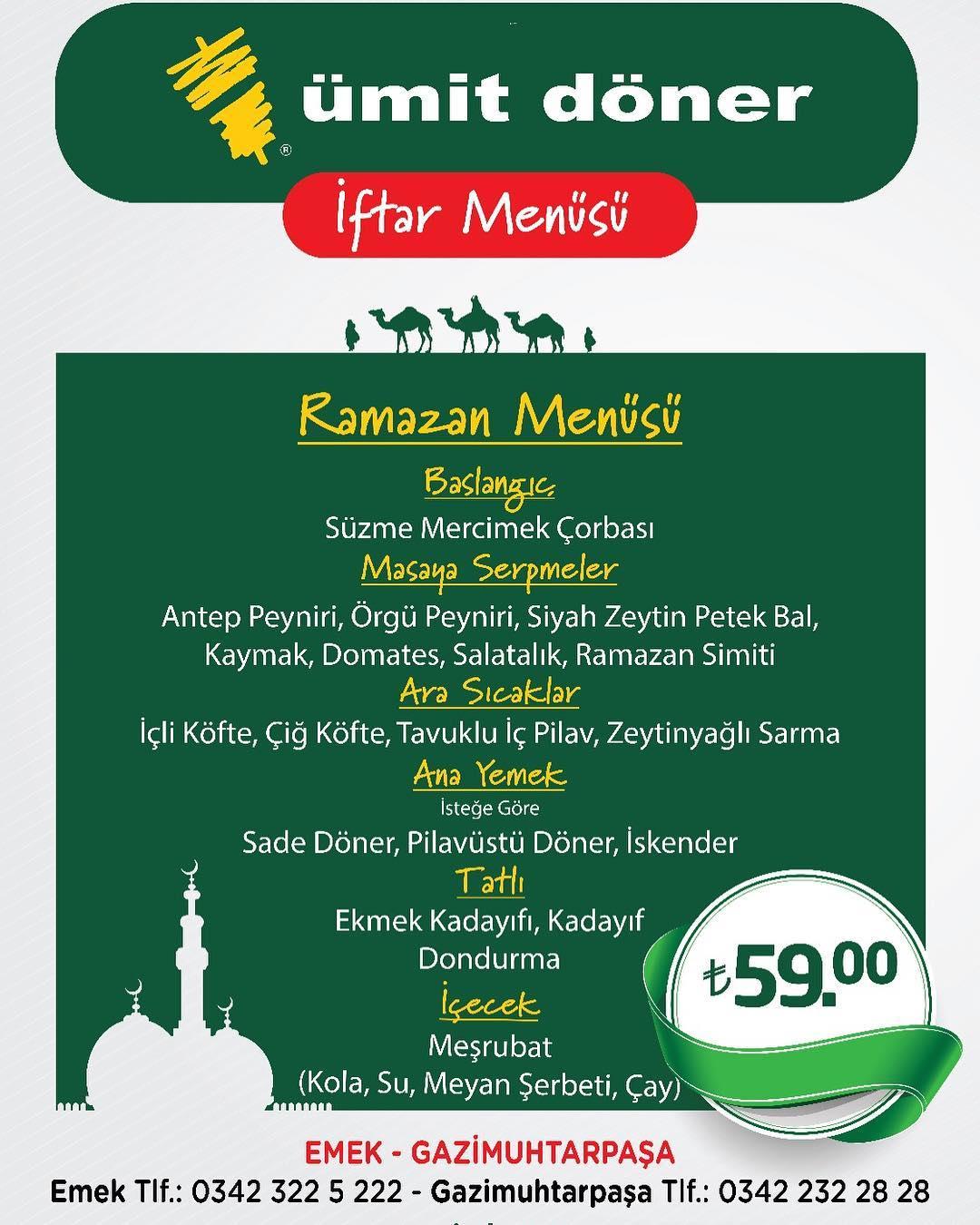 ümit döner gaziantep iftar menusu fiyatlari gaziantep iftar mekanları gaziantep iftar menüsü ve fiyatları