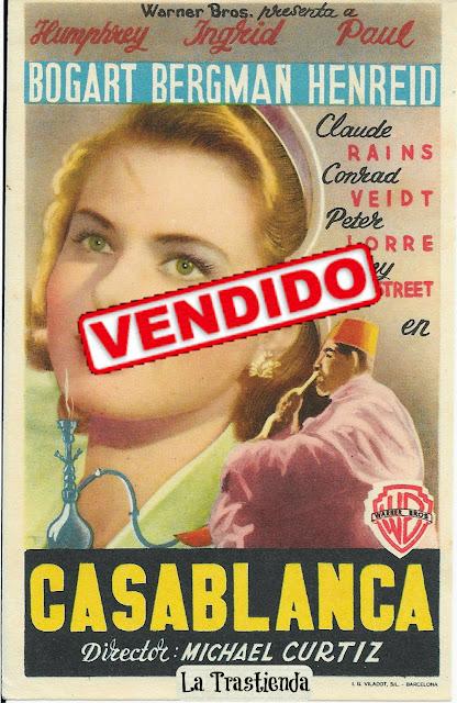 Casablanca - Folleto de cine - Humphrey Bogart - Ingrid Bergman