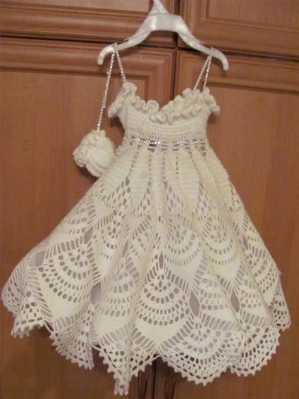 Patrón #1522: Vestido de Niña a Crochet