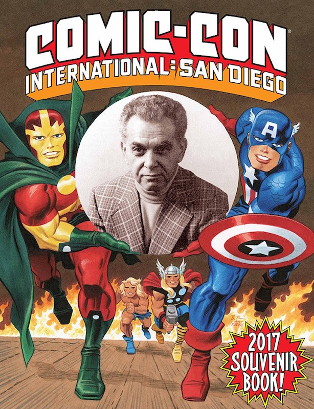 Comic-Con International 2017 Souvenir Book cover illustration, Jack Kirby Tribute by Bruce Timm.
