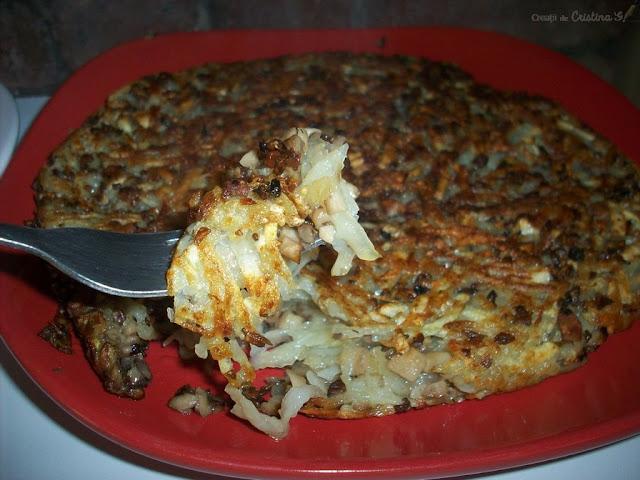 Crispy grated potatoes with mushrooms - Gluten-free vegan recipe