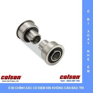 Bánh xe cao su chống tĩnh điện Colson Mỹ lắp lỗ giữa có khóa phi 125 sử dụng ổ bi