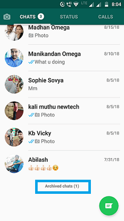 Find archived messages on WhatsApp