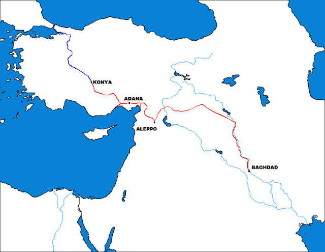 Gambar peta Jalur kereta api Baghdad