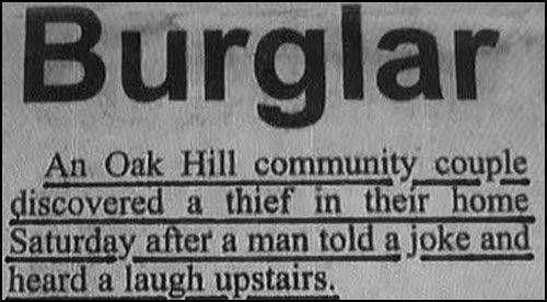 Funny Burglar News Joke Image