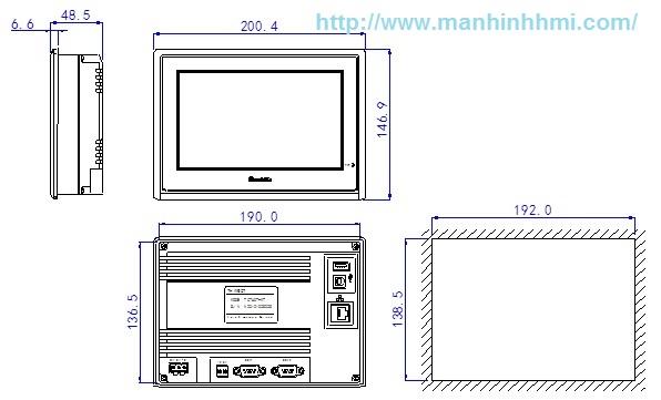 Kích thước màn hình HMI Xinje TouchWin TG765-MT/ TG765-UT/ TG765-ET