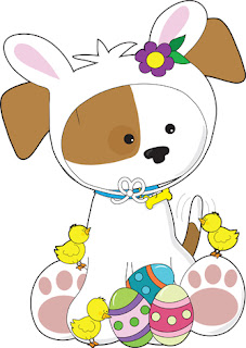 Clipart image of a puppy in a bunny costume beside little chicks and Easter eggs