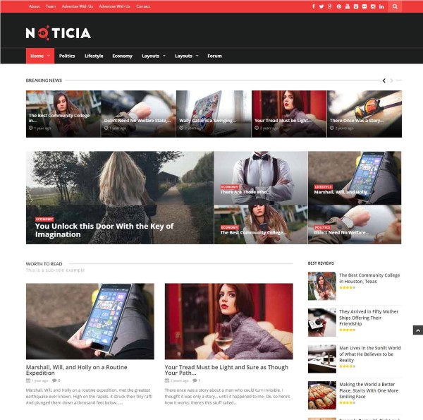 Noticia responsive design for wordpress