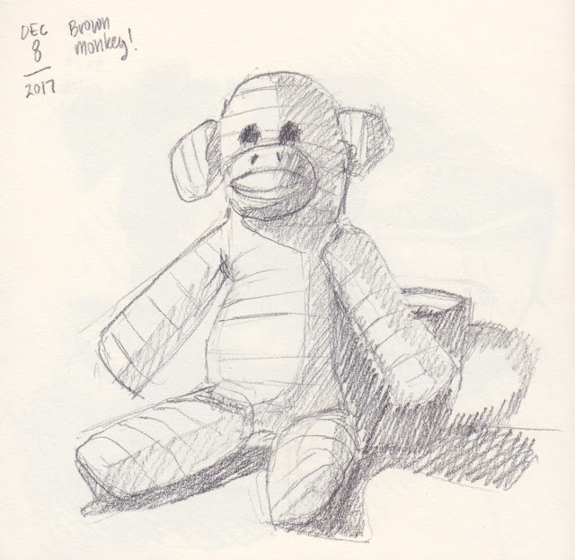 Daily Art 12-8-17 still life sketch in graphite number 60 - brown monkey squeaky toy
