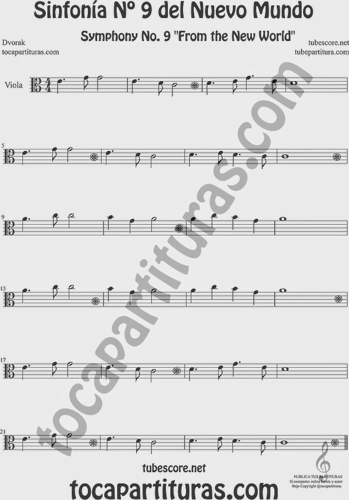 Sinfonía del Nuevo Mundo Partitura de Viola 9º Simphony From the New World by Dovorak Sheet Music for Viola Music Score