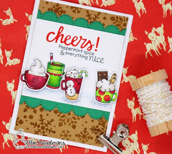 Cocoa Holiday Card by Ellen Haxelmans | Cup of Cocoa Stamp set and Snowfall Stencil by Newton's Nook Designs #newtonsnook #handmade