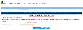West Bengal Police Forest Guard Admit Card 2017