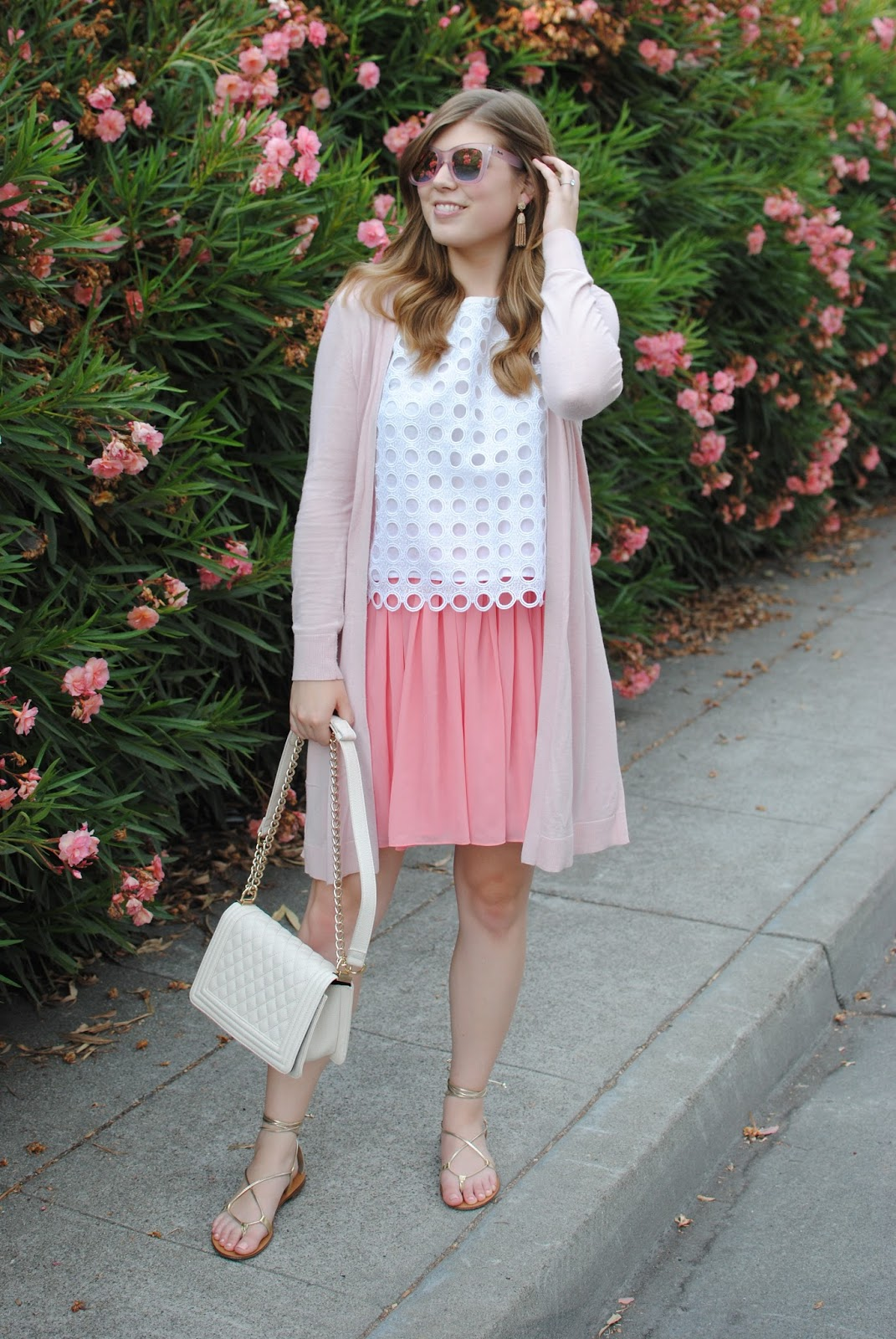 pink-skirt-pink-cardigan-pink-sunglasses