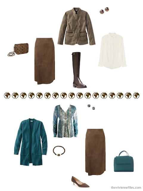 2 ways to wear a brown suede skirt from a 4 by 4 Wardrobe in browns, cream and teal