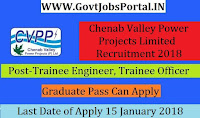 Chenab Valley Power Projects Limited Recruitment 2018 – 91 Trainee Engineer, Trainee Officer & Junior Engineer