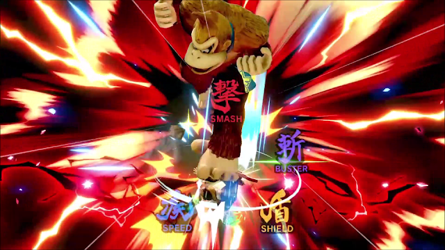 Super Smash Bros. Ultimate Donkey Kong meteor smash Shulk monado wheel close-up KO