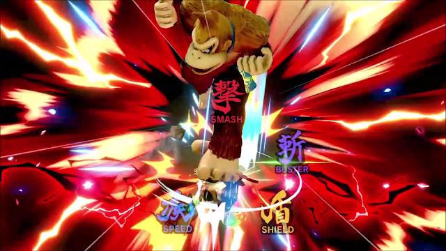 Super Smash Bros. Ultimate Donkey Kong meteor smash Shulk monado wheel close-up KO