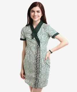 Model Baju Batik Terusan Selutut Kombinasi