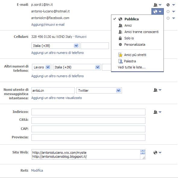 Privacy informazioni contatto Facebook Antonio Luciano