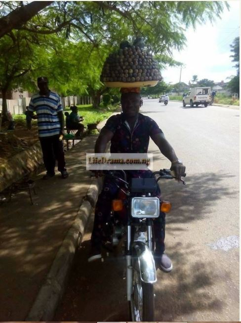 See photos of a man who hawks pear on bike (photos)