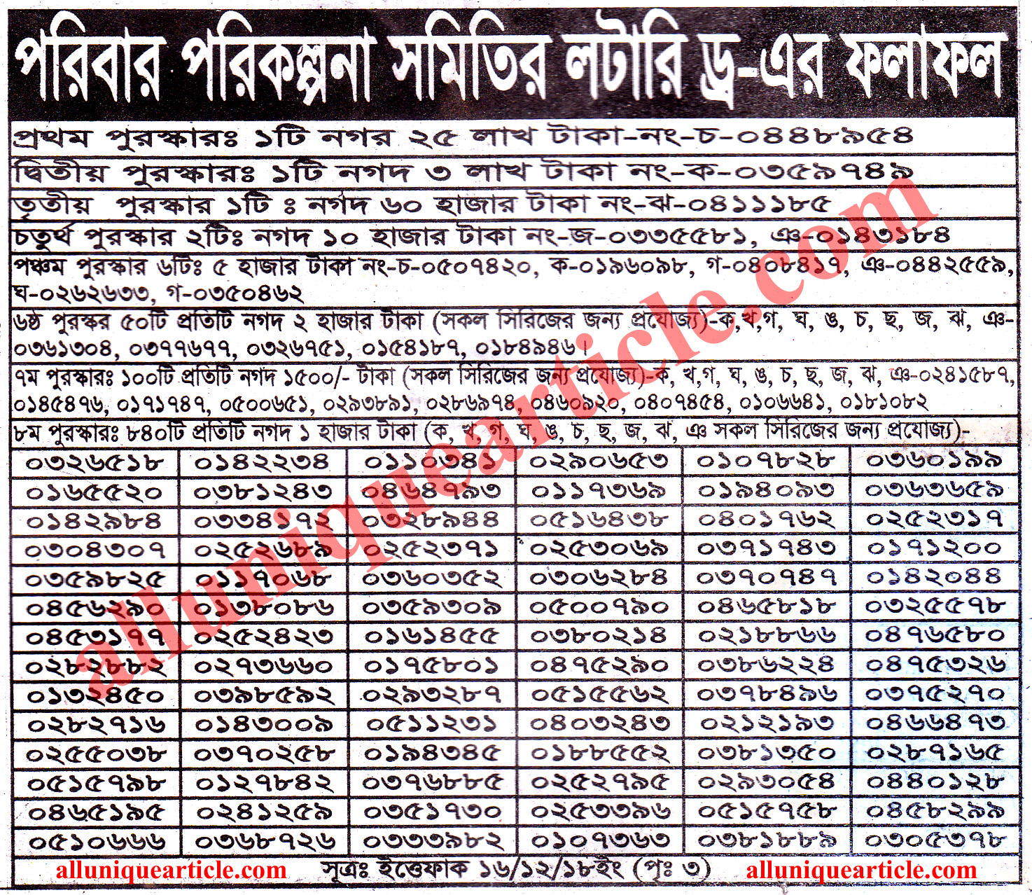 Bangladeshi Lottery Draw Result Check Online