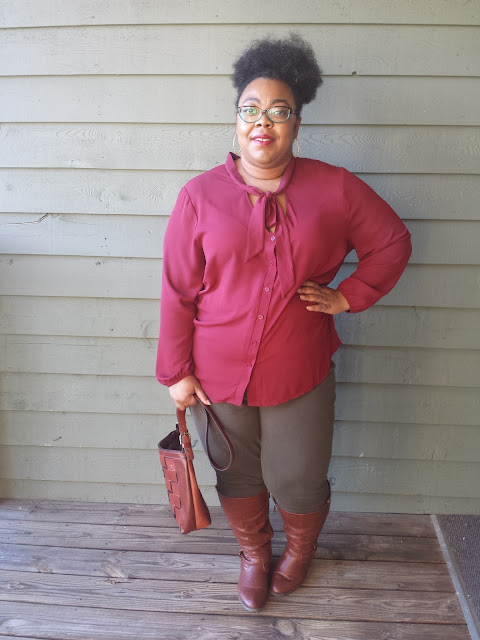 thrifted purse, lane bryant jeggings, charlotte russe pussy bow blouse, avenue knee boots