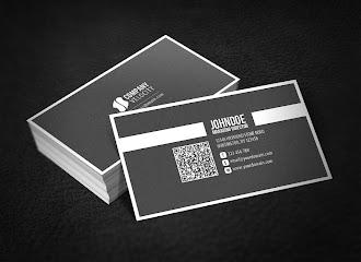 Koyu gri renkli beyaz çerçeveli ve şeritli bir kartvizit