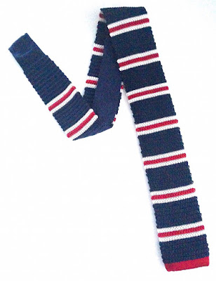 VAN BUCK NAVY & RED STRIPE SILK KNITTED SQUARE END TIE