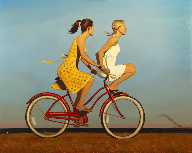 bo-bartlett-painter-artist-painting-the day everything changed forever-bicycle-girls