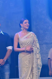 Kajal Aggarwal In Beautiful Designer Saree at Khiladi 150 Meet (6).jpg
