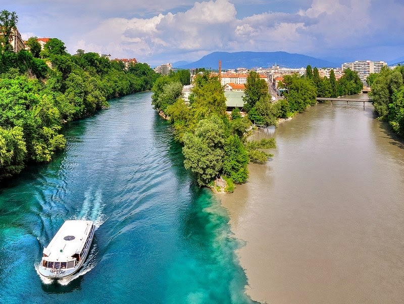 confluence of rhone and arve rivers, arve, geneva river, rhone and arve rivers, arve river, river in geneva, river arve, rhone river geneva, rhone and arve rivers in geneva