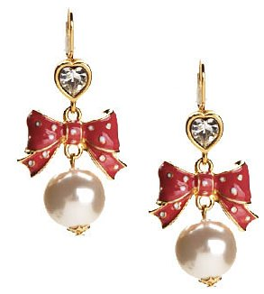 Betsey Johnson pink and pearl bow earrings