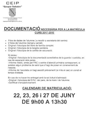 http://www.cpgasparsabater.org/curs 16-17/escolarització/documentació matrícula.pdf