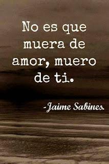 Frase del poema no es que muera de amor de Jaime Sabines