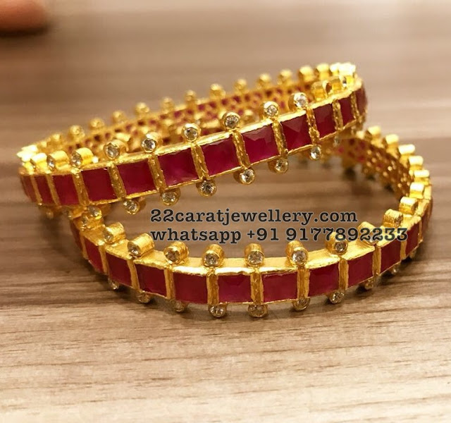 Gold Polished Silver Bangles