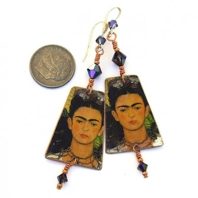 frida kahlo with cat earrings gift for her
