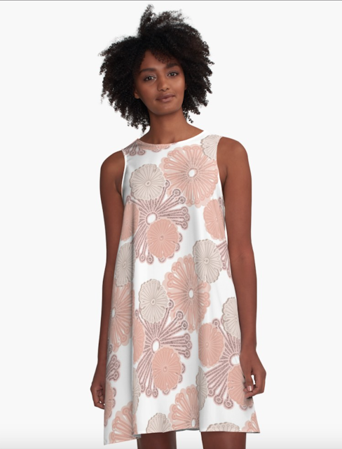 Rose Gold Floral A-Line Redbubble Dress