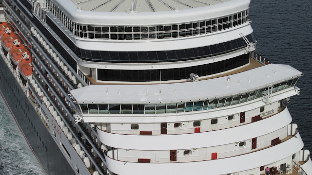 A bird's-eye view of Cunard's MS Queen Elizabeth departing Bergen, Norway; Cruise ships from above