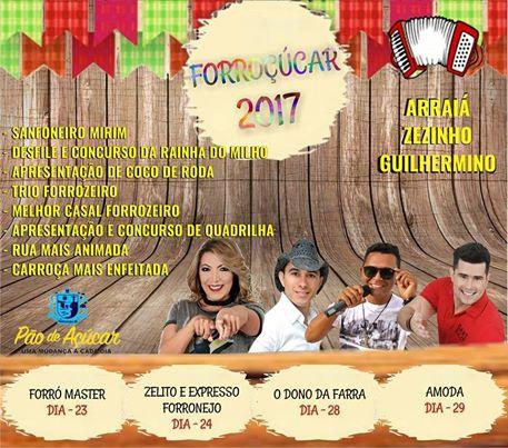 Prefeitura  de Pão de Açúcar divulga a programação oficial do Forroçúcar 2017