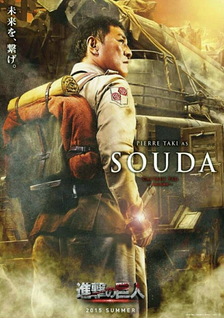 Plakat z filmu Attack on Titan na którym jest Pierre Taki jako Souda