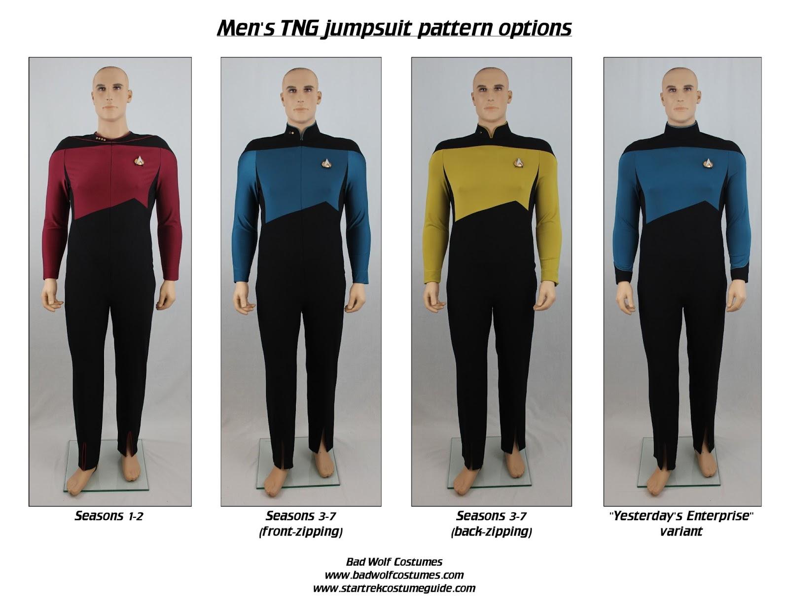 Bad Wolf Costumes: Star Trek TNG Men\'s Jumpsuit Sewing Pattern