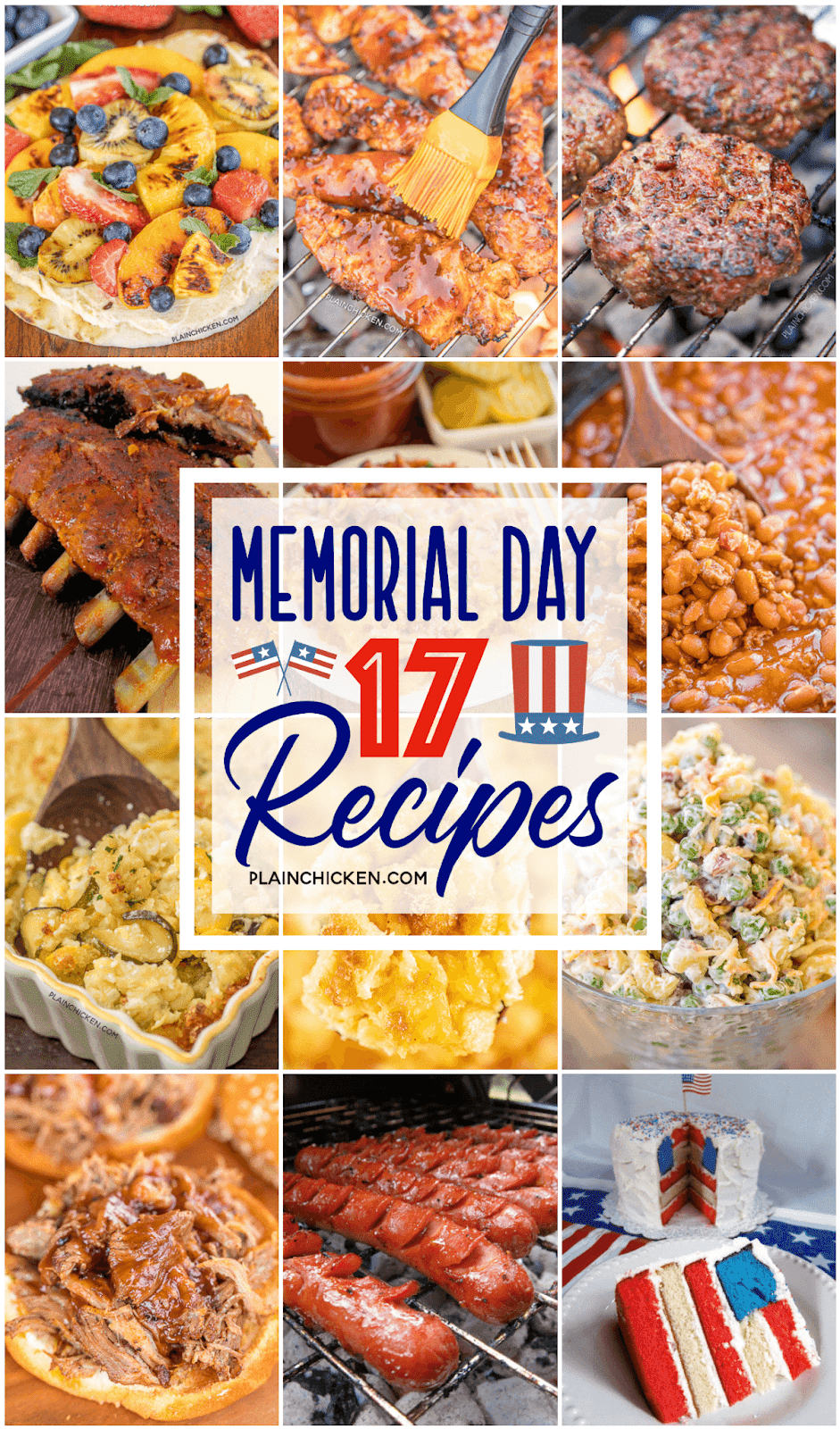 collage of food photos for Memorial Day
