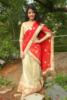 Akshara in Red Saree Golden Choli at LV Movie Makers Production No 1 Movie Opening ~  Exclusive 125.JPG