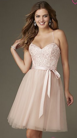 Pink color with Semi-Sweetheart Mini Strap Dress