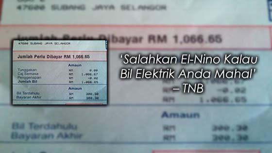 TNB Dedah El-Nino Punca Bil Elektrik Naik Mendadak